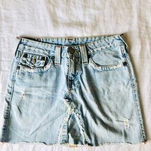 Distressed True Religion denim skirt (size 28)